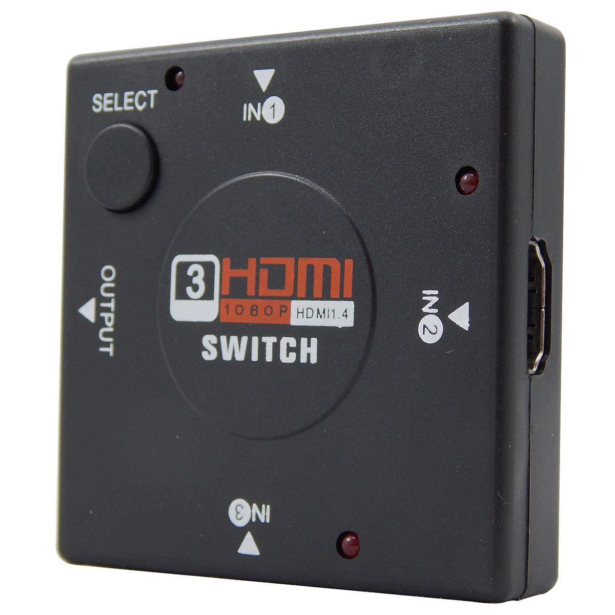 KIT Switch HDMI 3x1 + Cabo HDMI 1.4 de 1,80 Metros