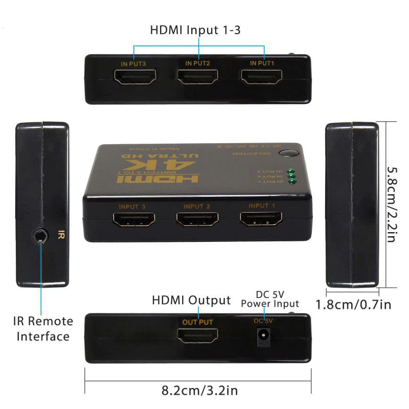 KIT Switch HDMI 4k 3x1 Knup KP-3465 com Controle e Fonte de Energia + 3 Cabos hdmi de 1 Metro CBX-H10SM