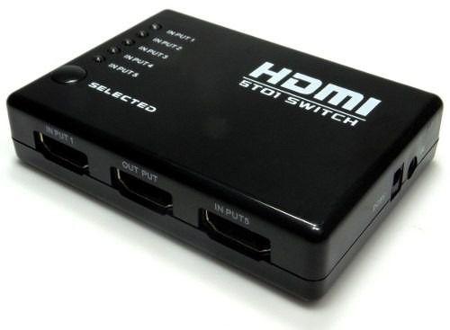 KIT Switch HDMI 5 Entradas e 1 Saída com Controle Remoto e Fonte de Energia + 3 Cabos hdmi de 1 Metro CBX-H10SM