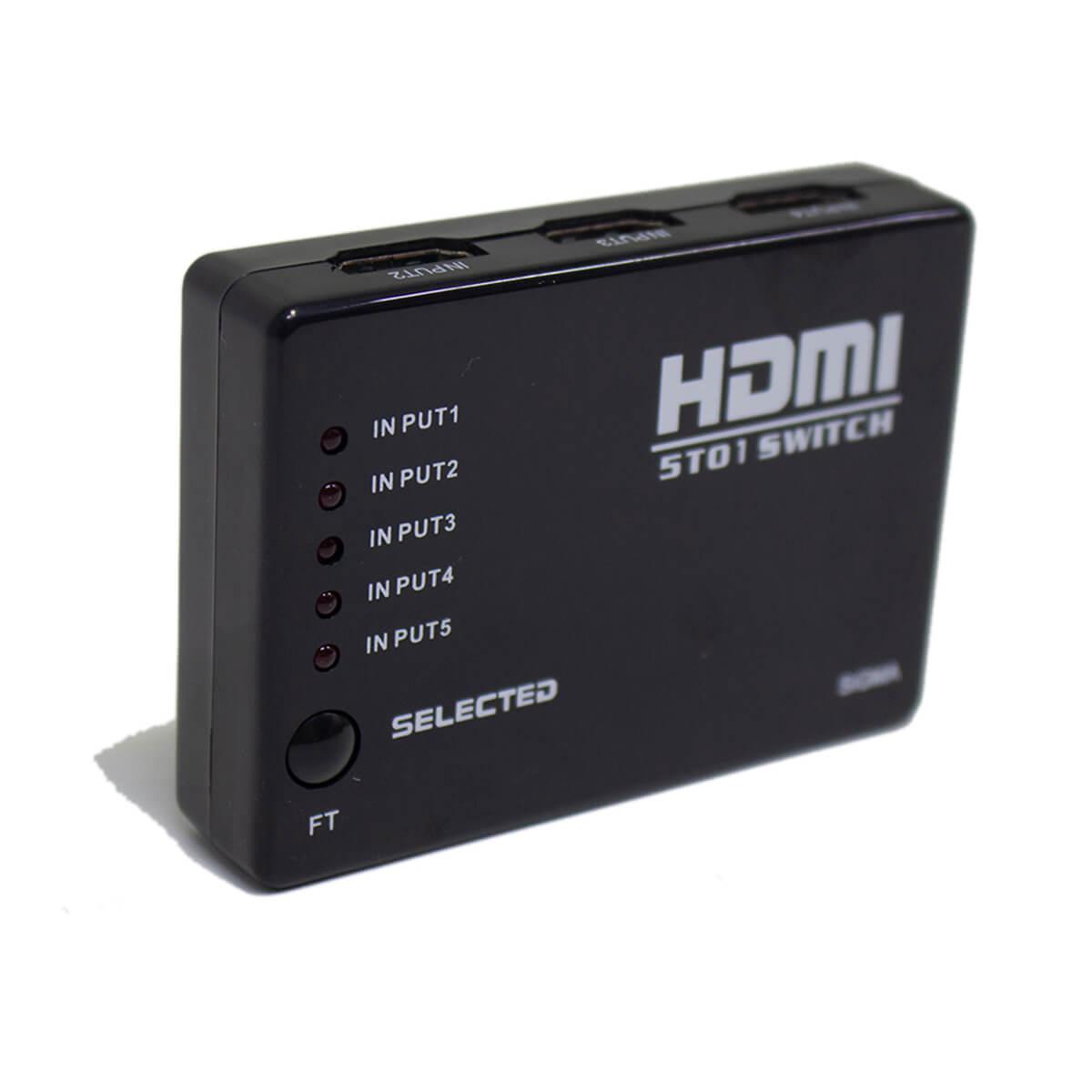 KIT Switch HDMI 5 Entradas e 1 Saída com Controle Remoto e Fonte de Energia + 6 Cabos hdmi de 1 Metro CBX-H10SM