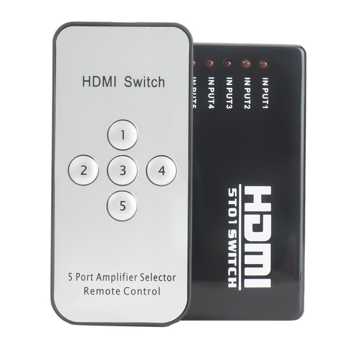 KIT Switch HDMI 5 Entradas x 1 Saida com Controle Remoto e Extensor + 6 Cabo hdmi de 1 Metro