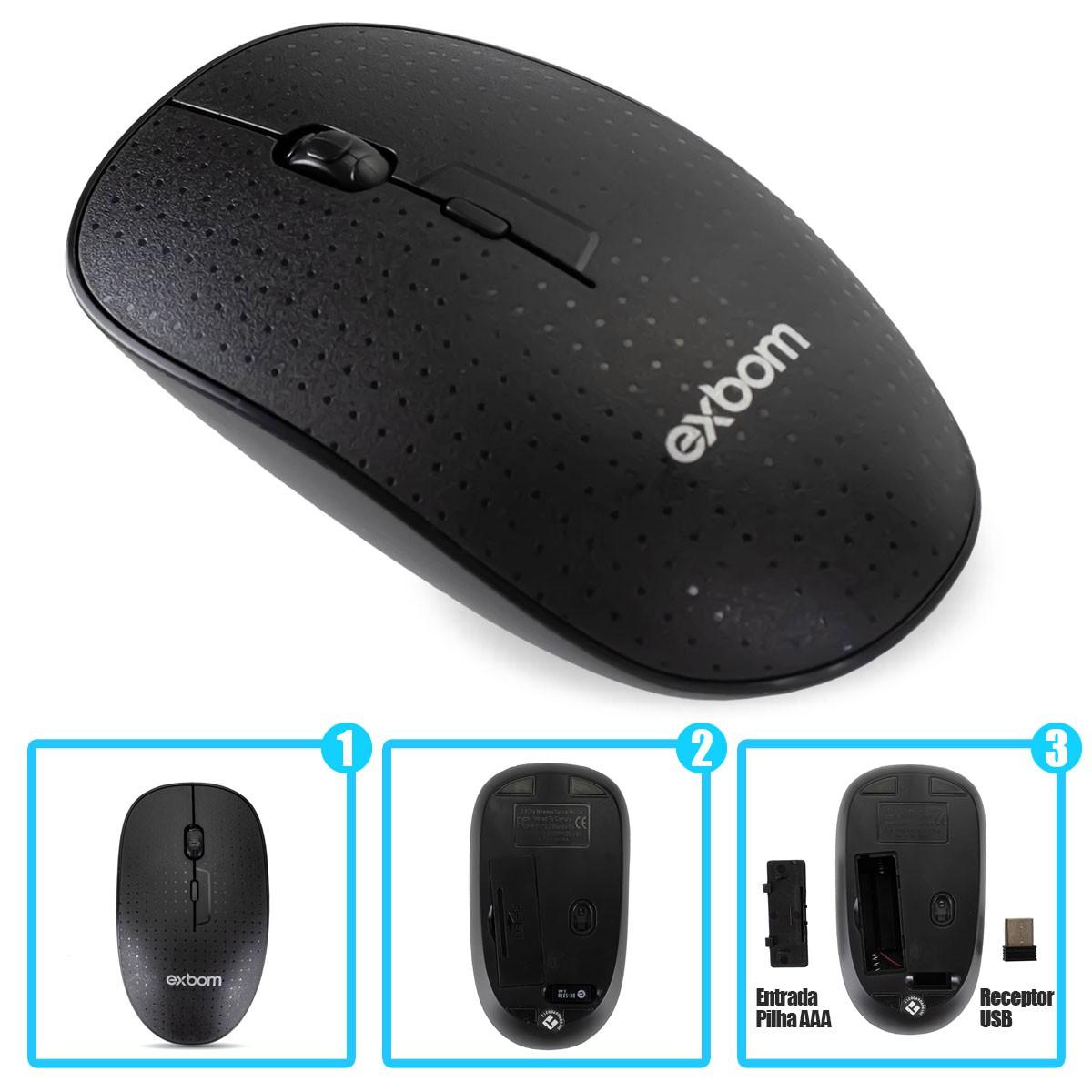 Kit Teclado e Mouse Sem Fio 2.4GHz USB ABNT 2 (Com Ç) 107 Teclas Exbom BK-S370