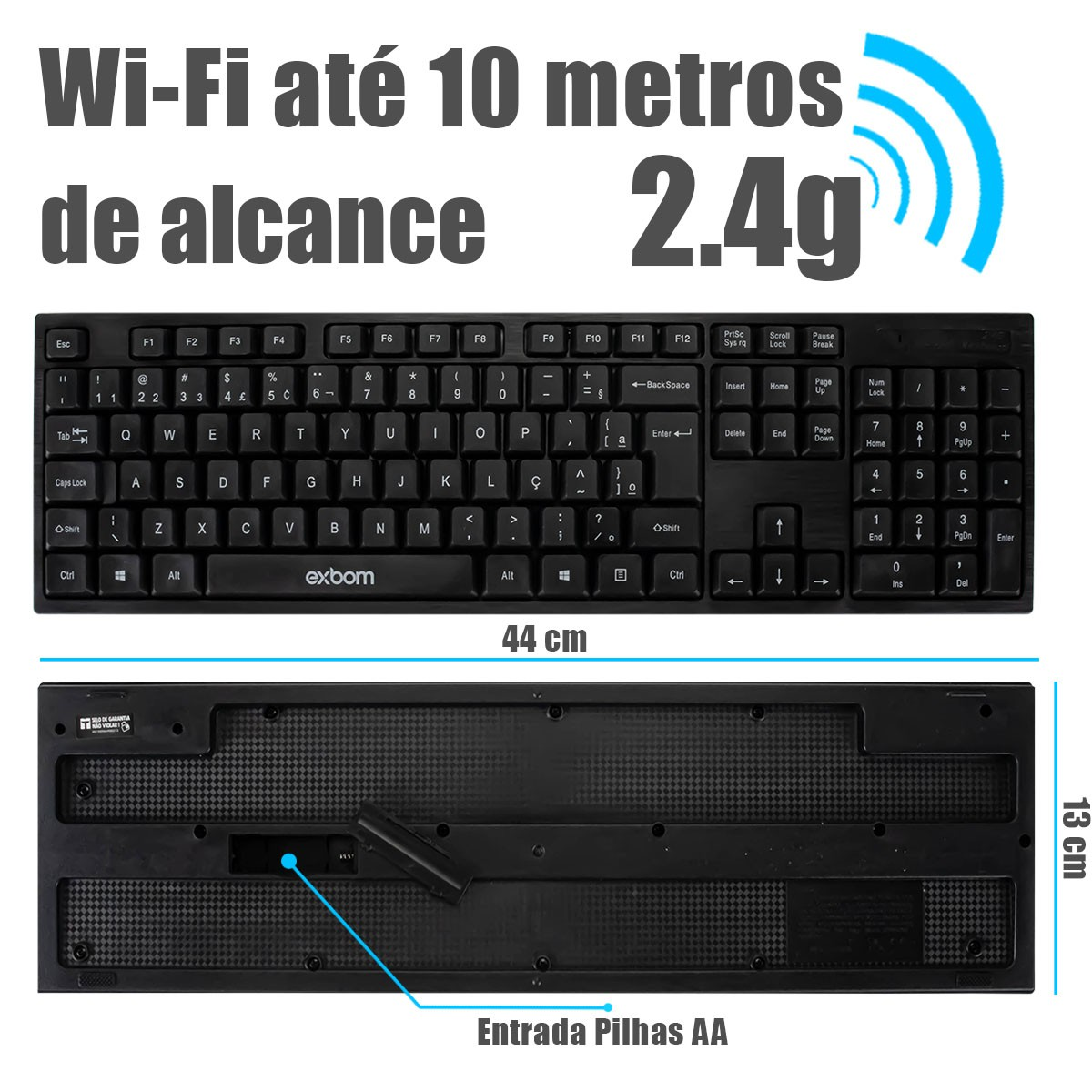 KIT Teclado e Mouse Sem Fio USB Exbom BK-S370 + Mouse Pad Apoio de Pulso B-Max BM751