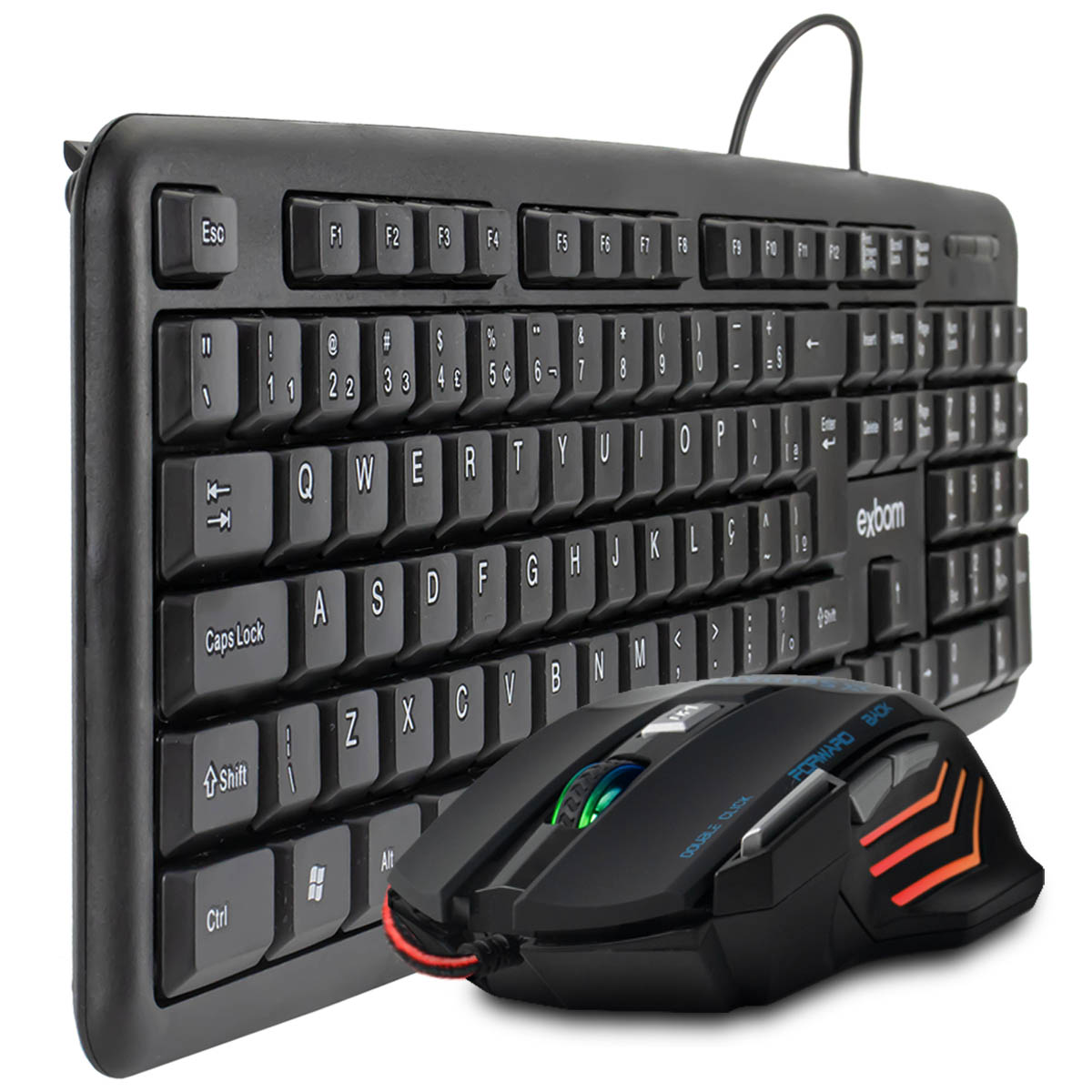 KIT Teclado e Mouse USB ABNT 2 (com Ç) Exbom BK-102 + Mouse Gamer 7 Botões DPI Ajustável GM-700