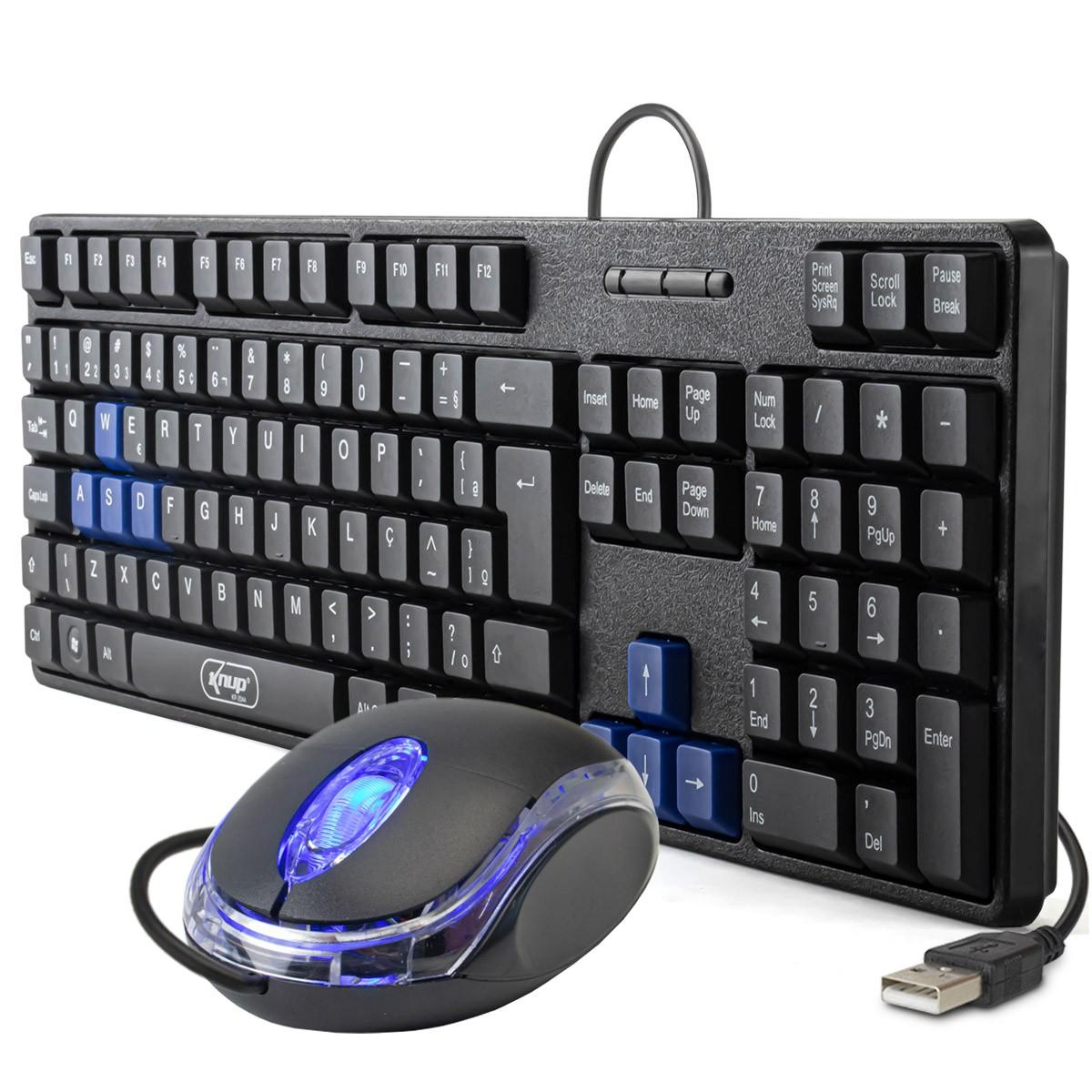 KIT Teclado e Mouse USB ABNT 2 (com Ç) Knup KP-2044 + Mouse Óptico USB Exbom MS-10