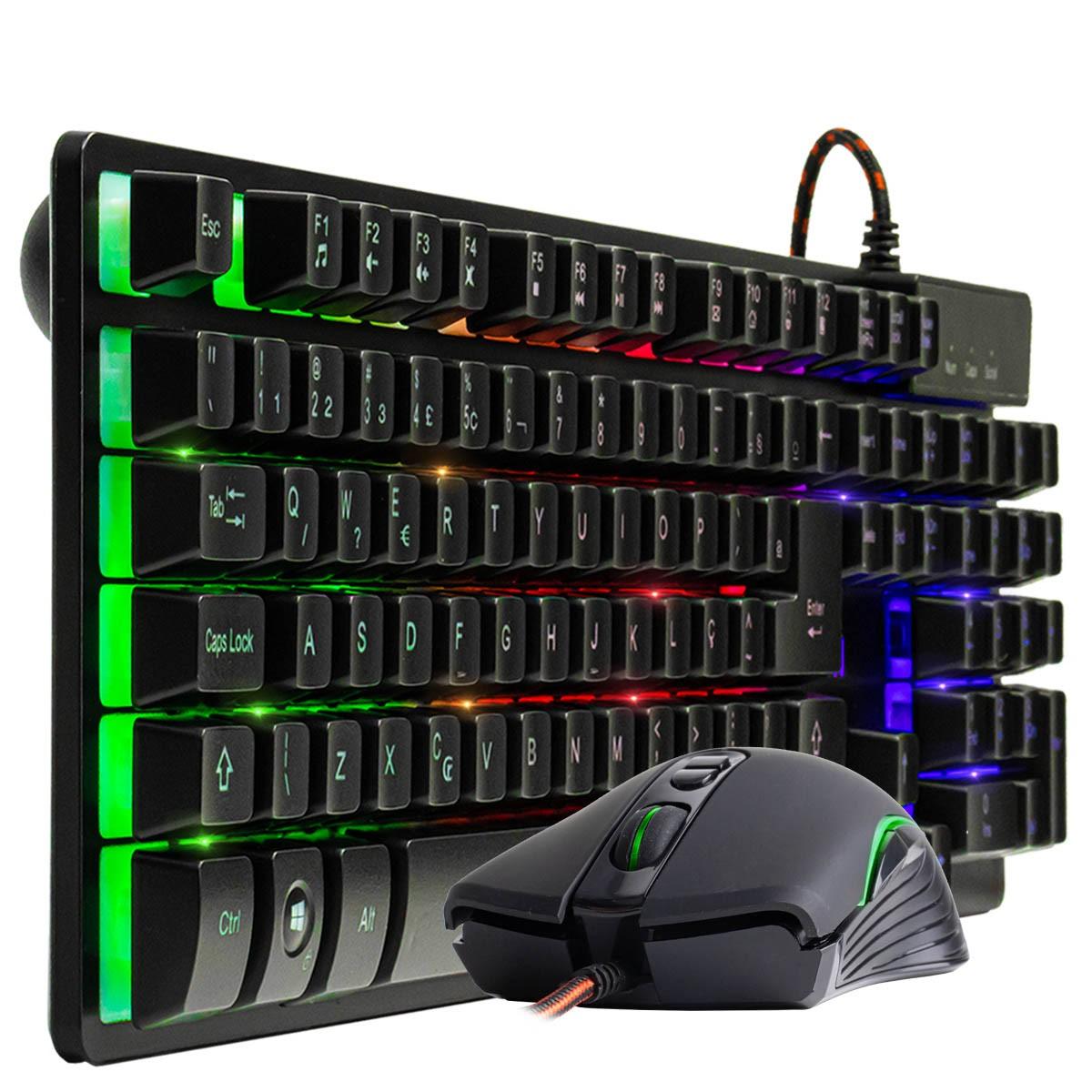 KIT Teclado Gamer Semi Mecânico com LED BM-T06 + Mouse Gamer 6400 dpi GM-V550