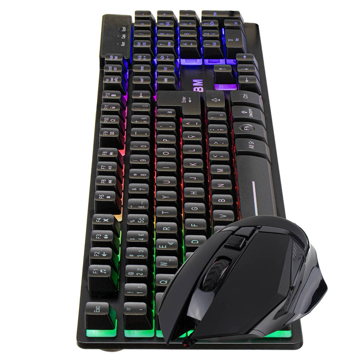 KIT Teclado Gamer Semi Mecânico com LED BM-T06 + Mouse Gamer RGB GM-601