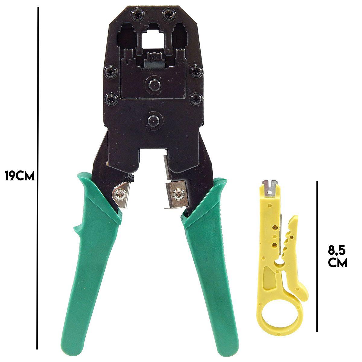 KIT Testador de Cabo RJ45 e Rj11 + Alicate de Crimpagem RJ45 e RJ11 + Alicate Coaxial + Decapador Cabo Coaxial + 50x Conectores RJ45