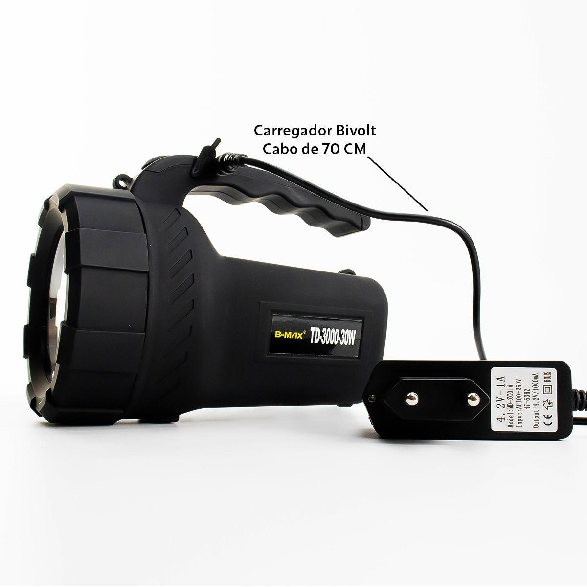 Lanterna Led Holofote Recarregável B-Max TD-3000-30W