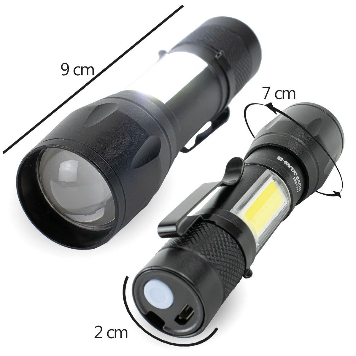 Lanterna Led Mini Recarregável via Usb B-Max BM8400