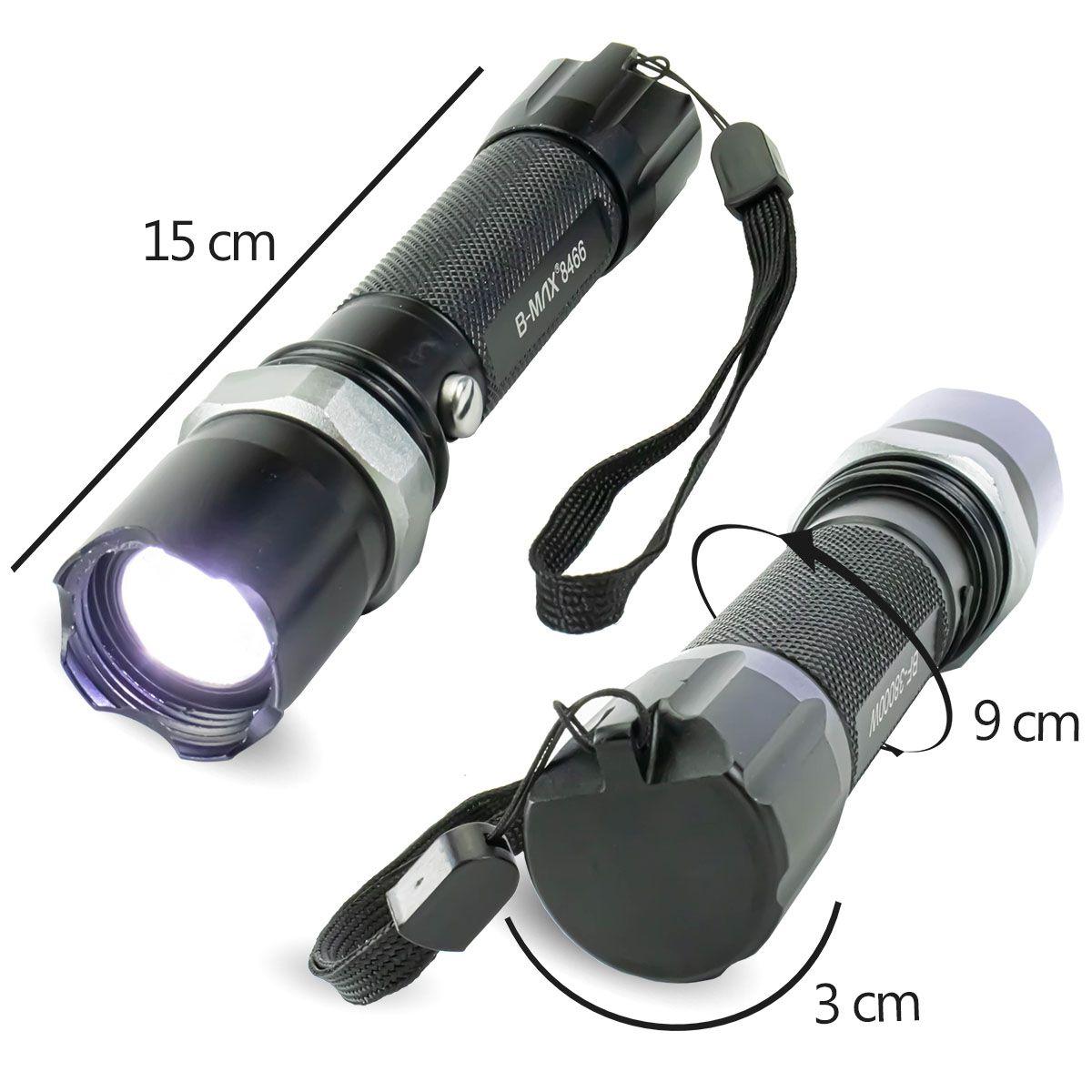 KIT Lanterna Tática Led com Sinalizador Recarregável BM8466 + Lanterna Tática Compacta BM8400