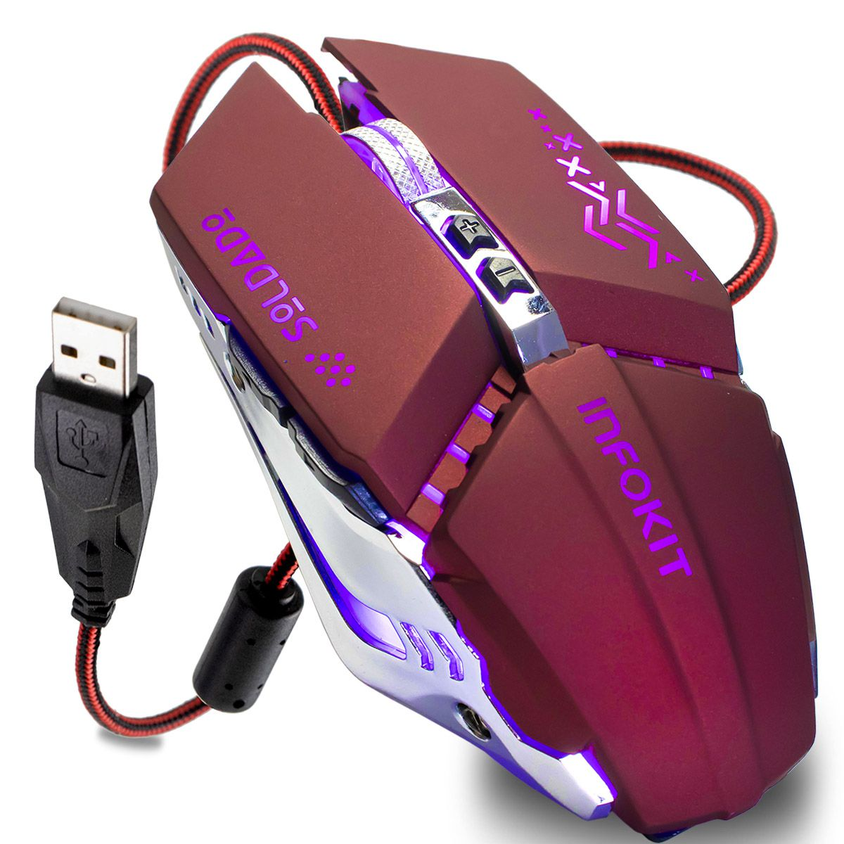 Mouse Gamer Usb com Iluminação Led Rgb Infokit GM-705