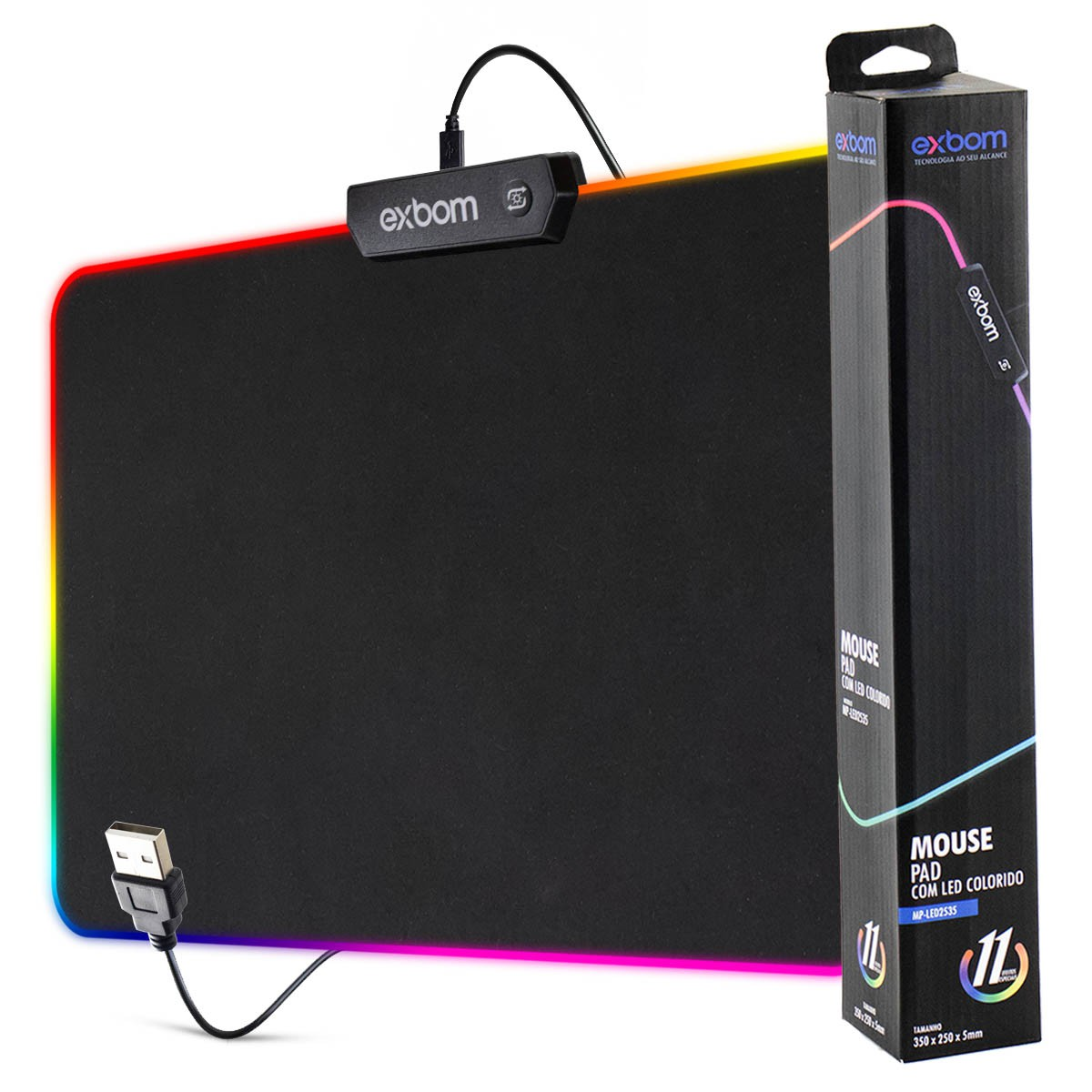 Mouse Pad Gamer com LEDs RGB 7 Cores Exbom MP-LED2535 250x350x4mm