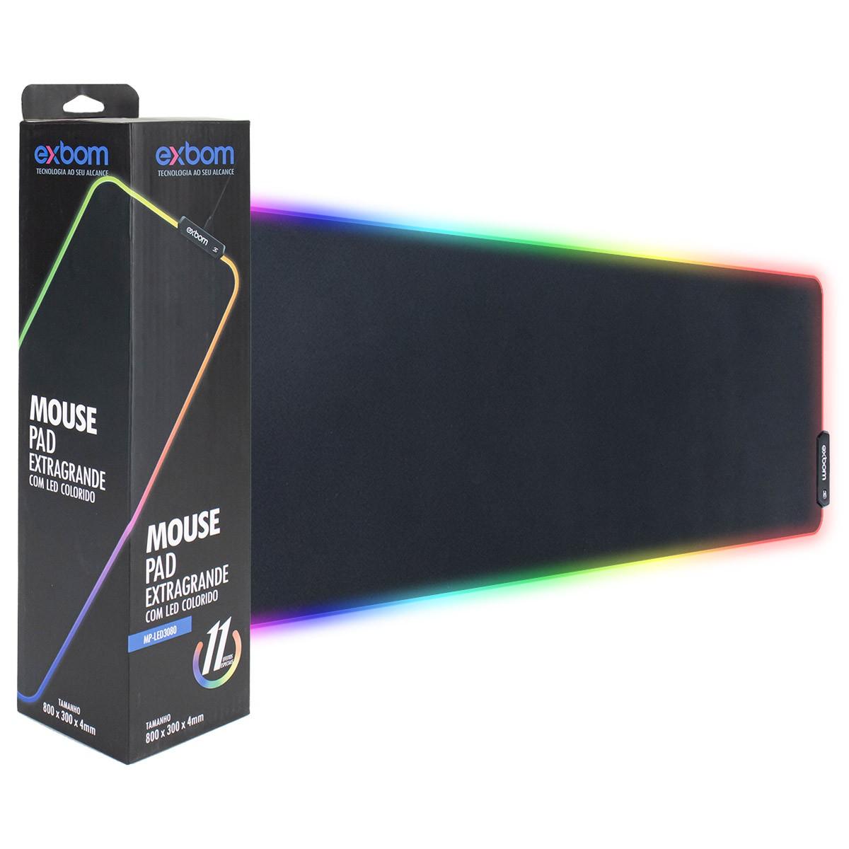 Mouse Pad Gamer Extra Grande com LEDs RGB 7 Cores Exbom MP-LED3080 300x800x4mm