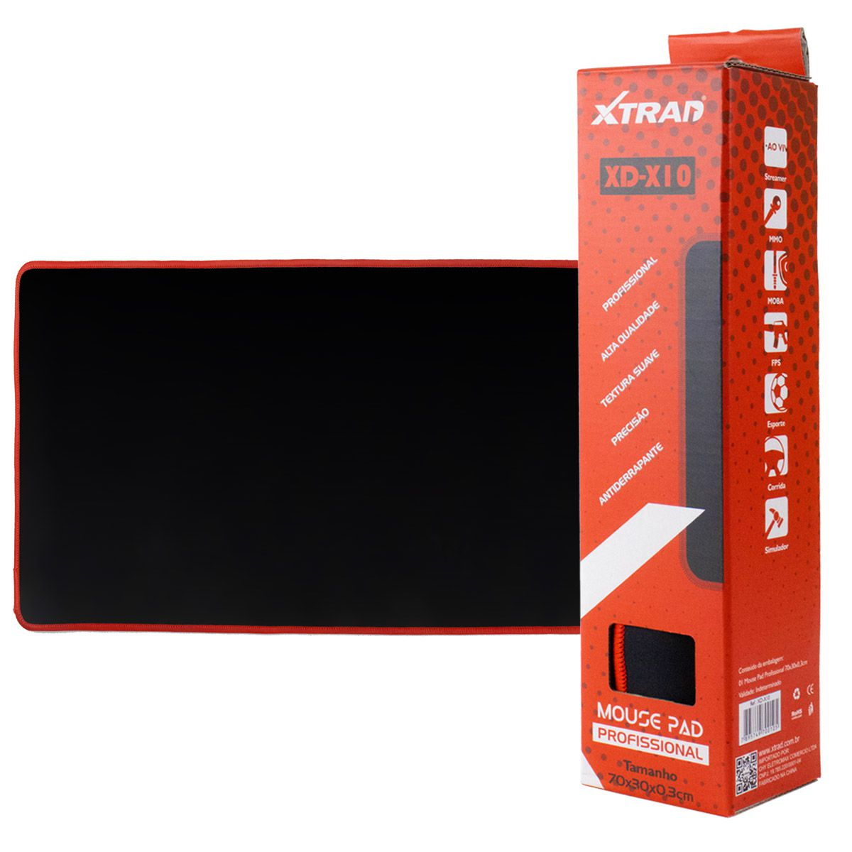 Mouse Pad Gamer Preto Xtrad XD-X10 Extra Grande 70x30cm