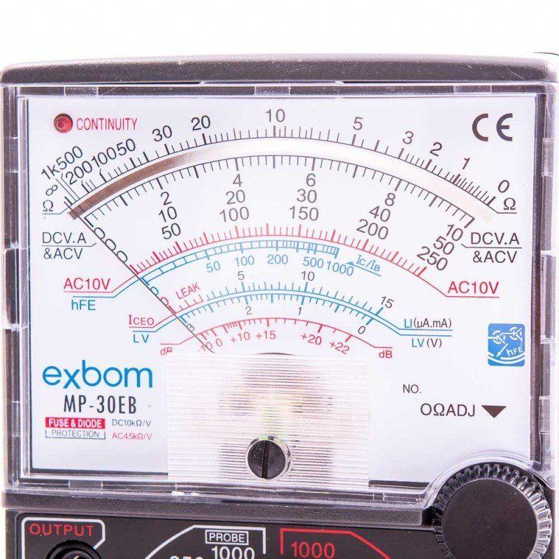 Multímetro Analógico Profissional Exbom MP-30EB Com Alerta Sonoro