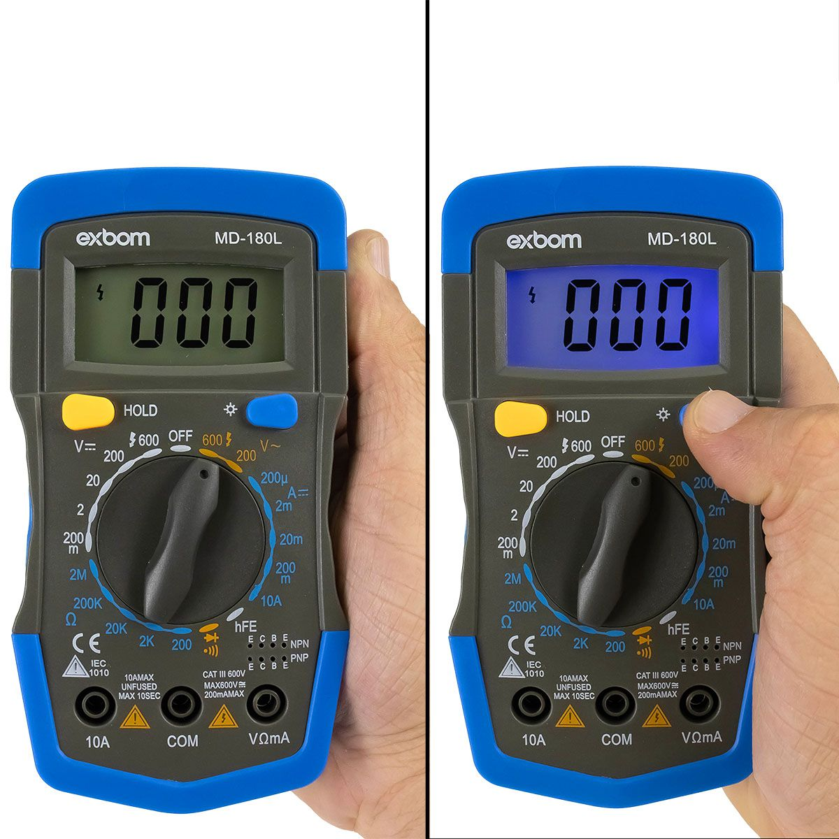 Multímetro Digital Exbom MD-180L Portátil Display 3 1/2 Iluminado com Beep Sonoro
