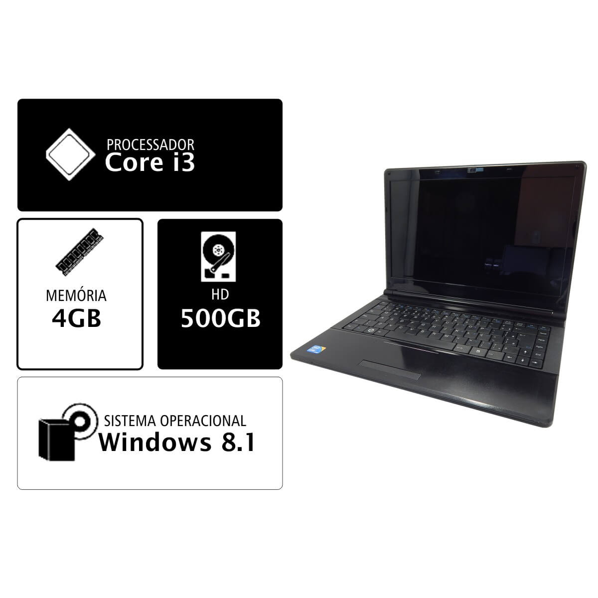 NOTEBOOK POSITIVO SIM 6280 I3-350M 4Gb 500Gb DVD - Seminovo