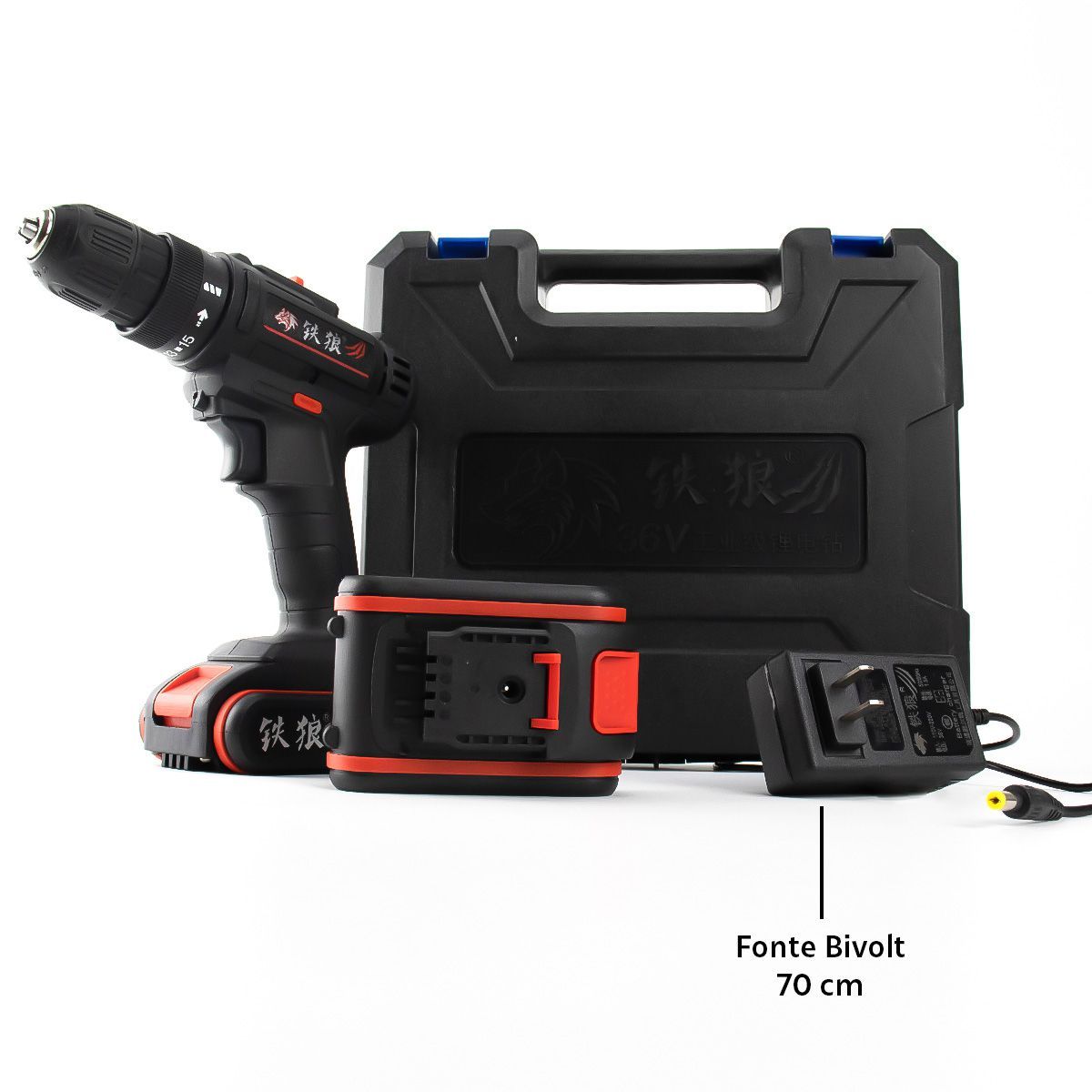 Parafusadeira Furadeira Elétrica à Bateria 36v Recarregável