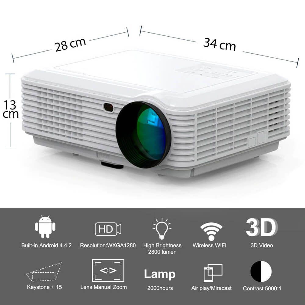 Projetor Multimídia de LED 2600 Lúmens c/ Android Exbom PJ-V200