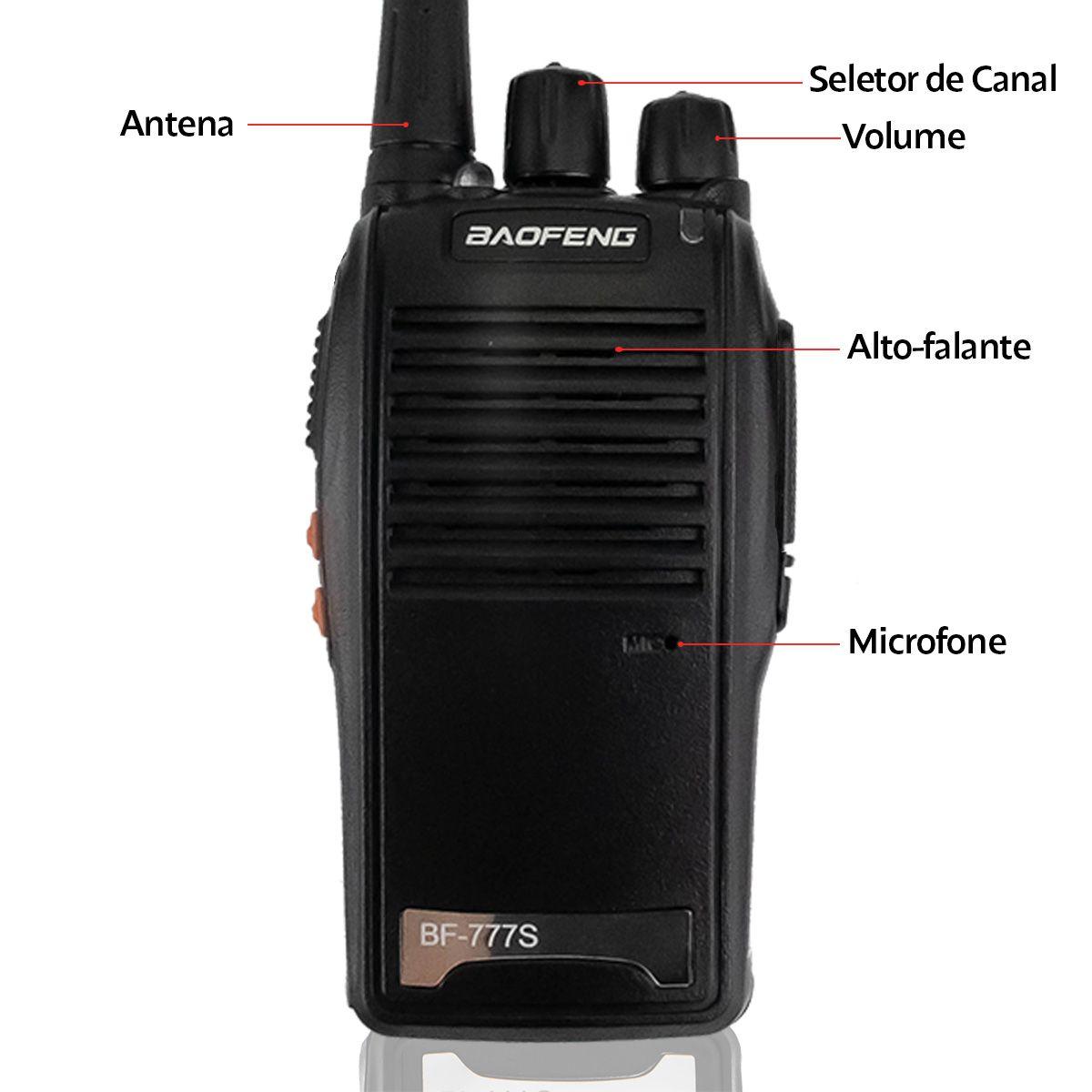 Rádio Comunicador Walk Talk Baofeng BF-777S (par) com Fone de Ouvido