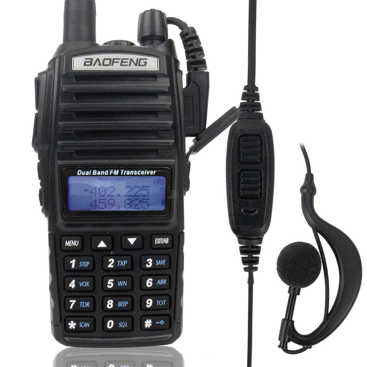 Rádio Comunicador Walk Talk Baofeng BF-UV82 (unidade) com Fone de Ouvido