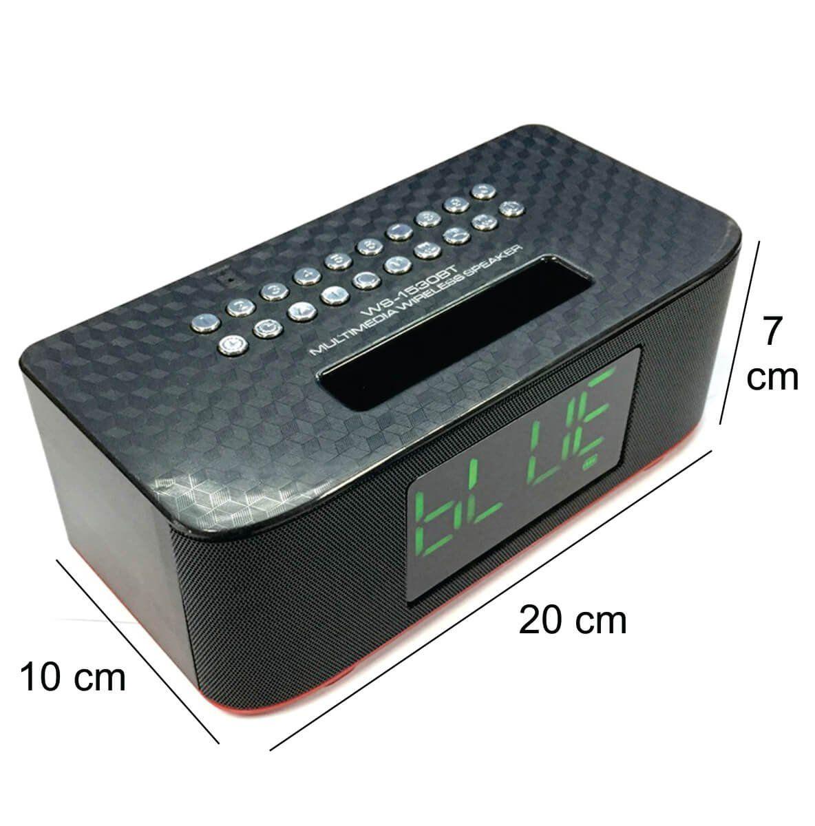 Rádio Relógio Digital Despertador Caixa de Som Bluetooth Wster WS-1530BT