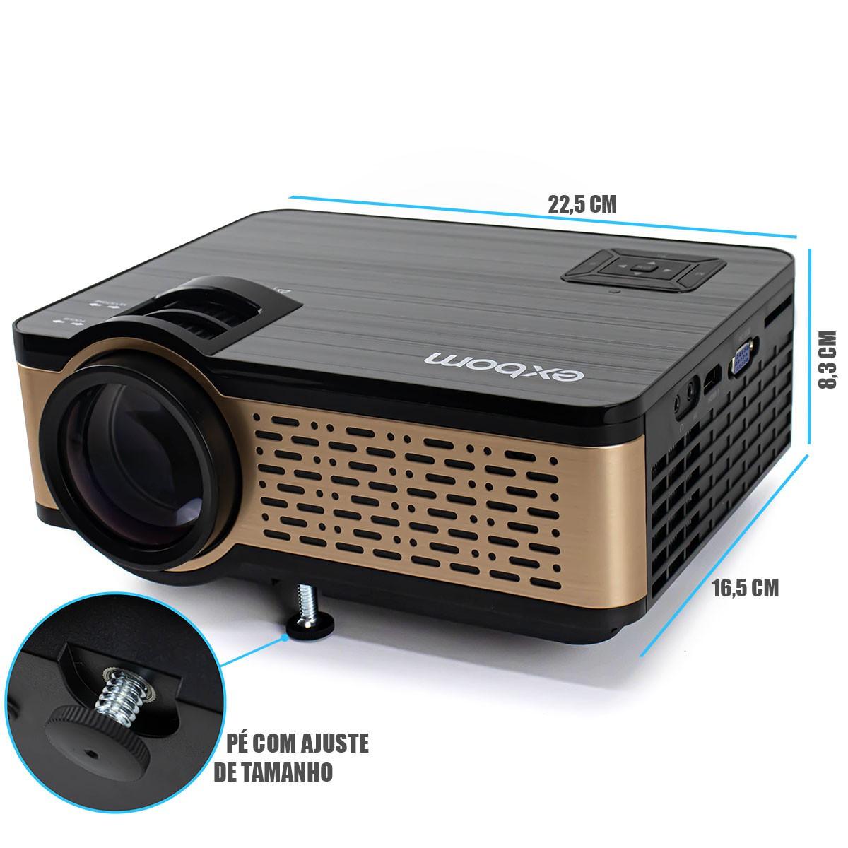 Smart Projetor LED 1600 Lúmens Multimídia Full HD 1080p Com Bluetooth Android Wi-fi Exbom PJ-S300