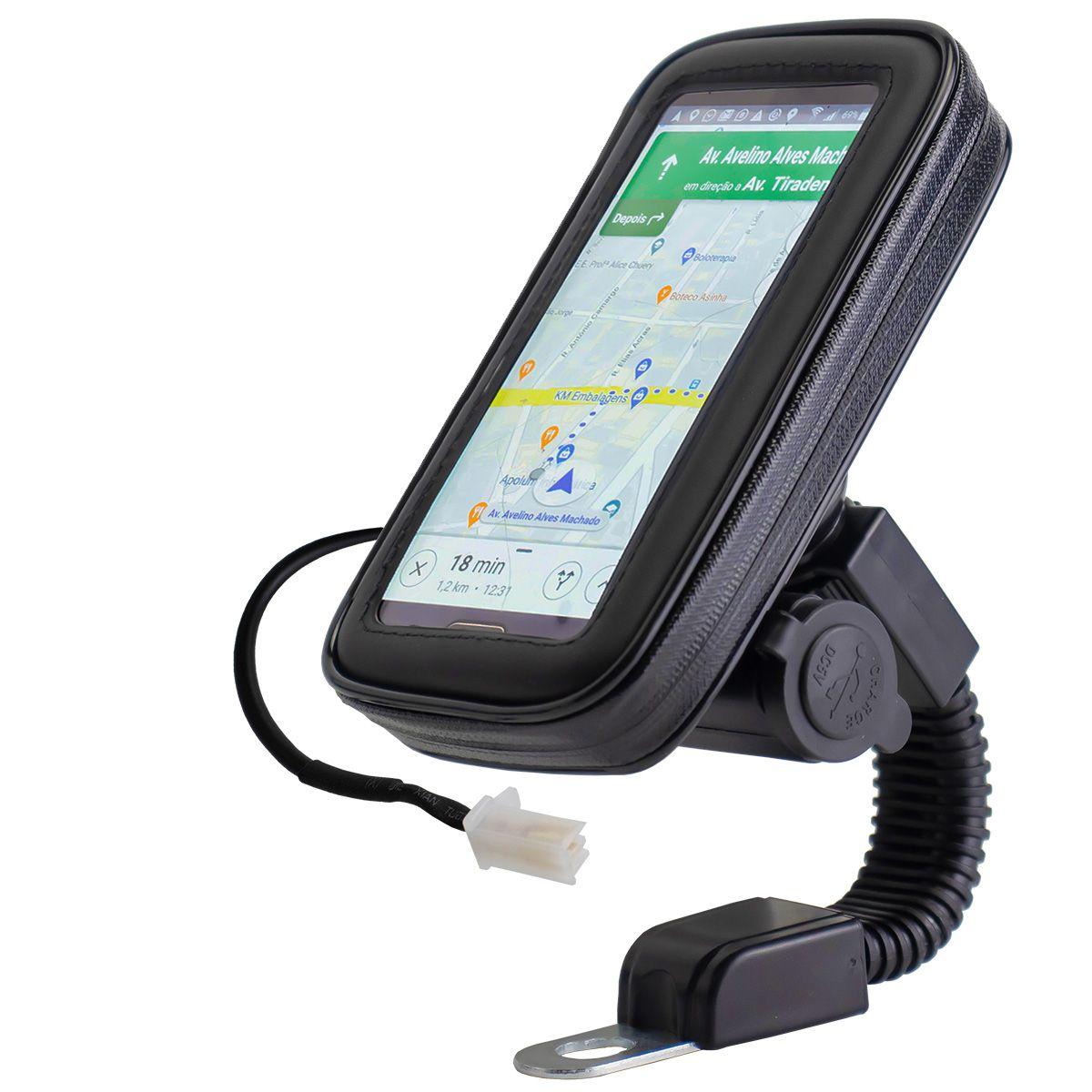Suporte de Celular com Case e Carregador Usb para Retrovisor de Moto Exbom SP-CA25