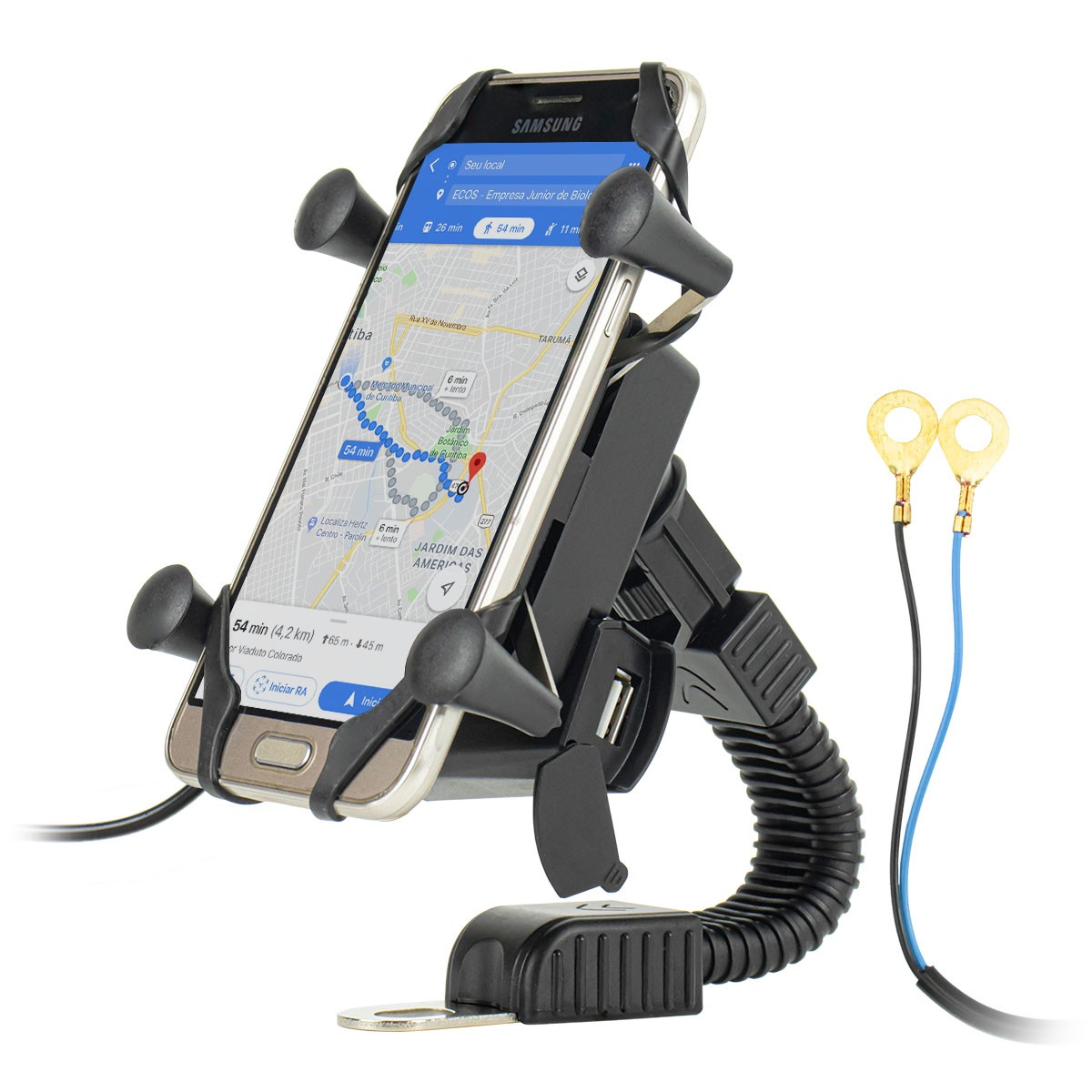 Suporte de Celular para Moto Retrovisor com Carregador IT-Blue LE-041