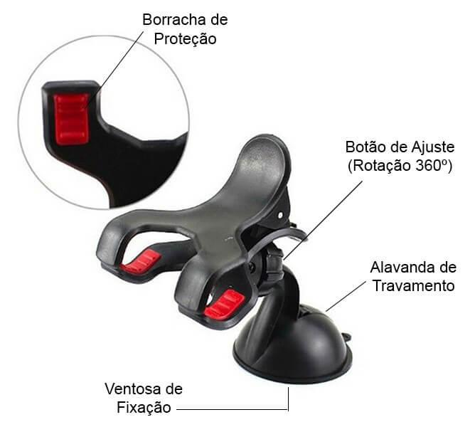 Suporte Universal para Celular e GPS com Ventosa e Fixação com Clipe Duplo Exbom SP-20