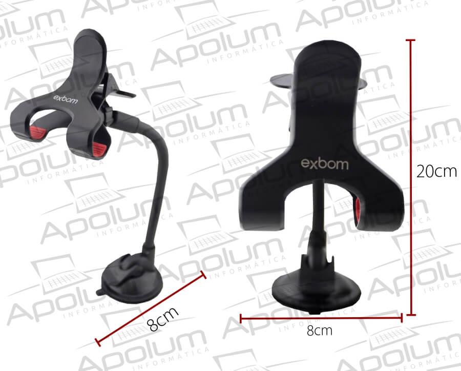 Suporte Universal para GPS e Celular com Haste de Metal Flexível e Clipe Duplo Exbom SP-T20