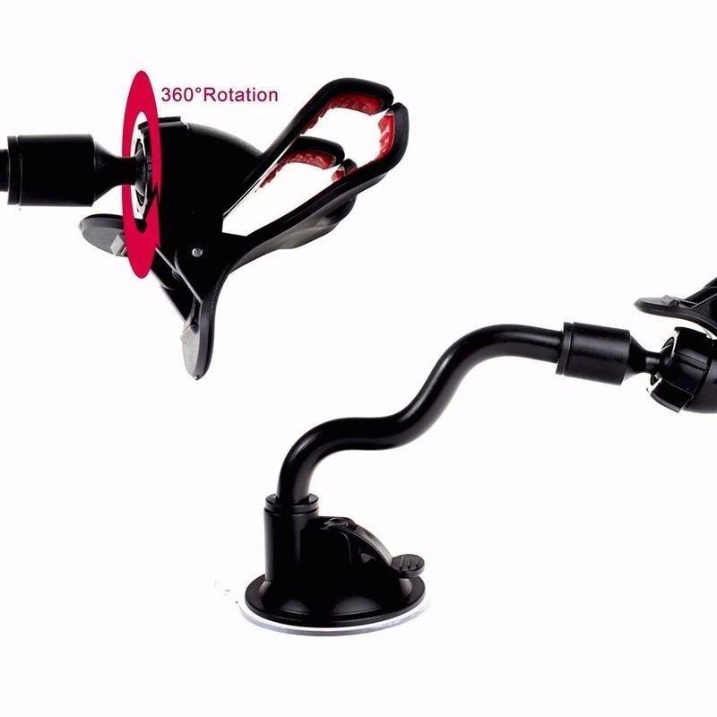 Suporte Universal para GPS e Celular com Haste de Metal Flexível e Clipe Duplo Lelong LE-016