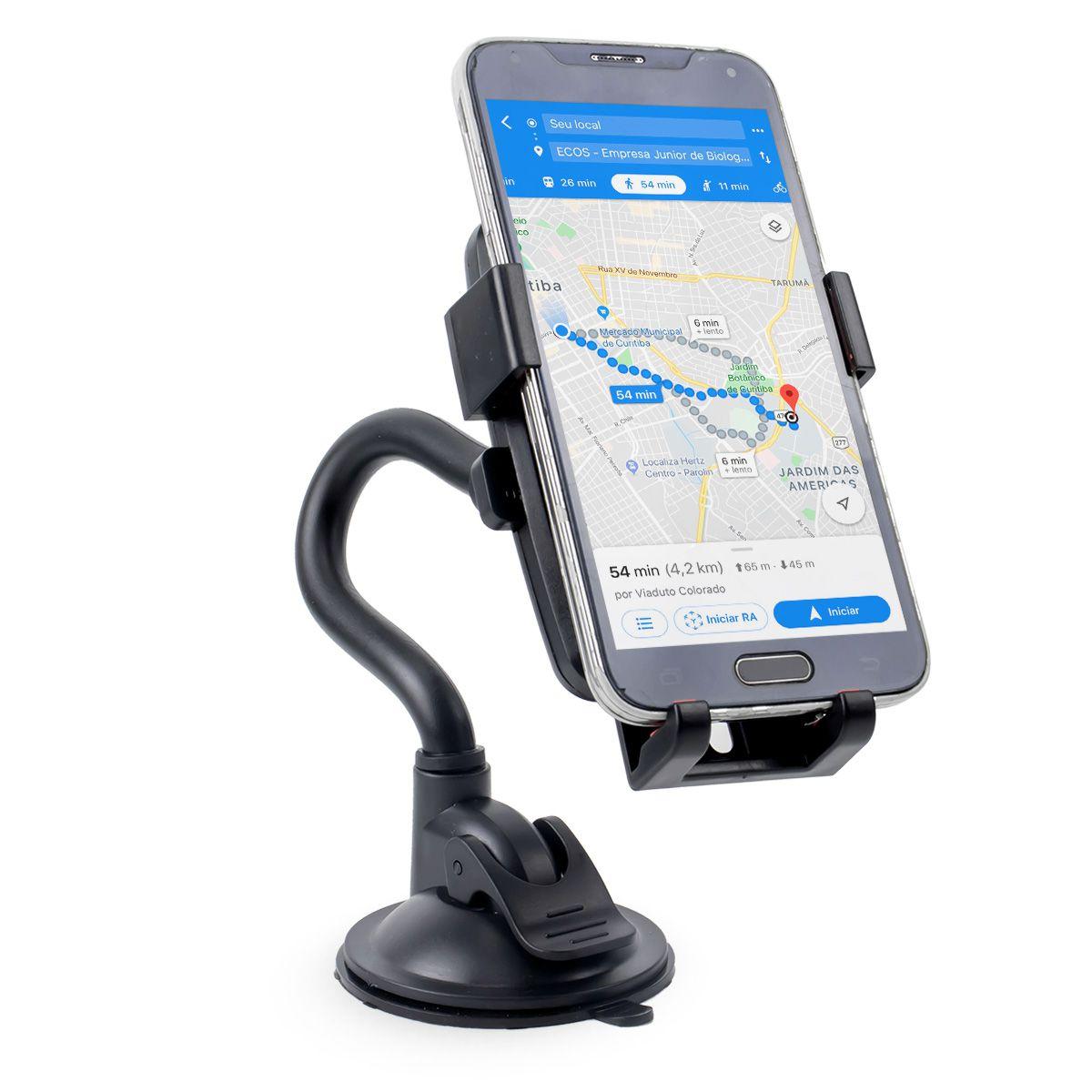 Suporte Universal para GPS e Celular com Haste e Trava Automática Exbom SP-T24