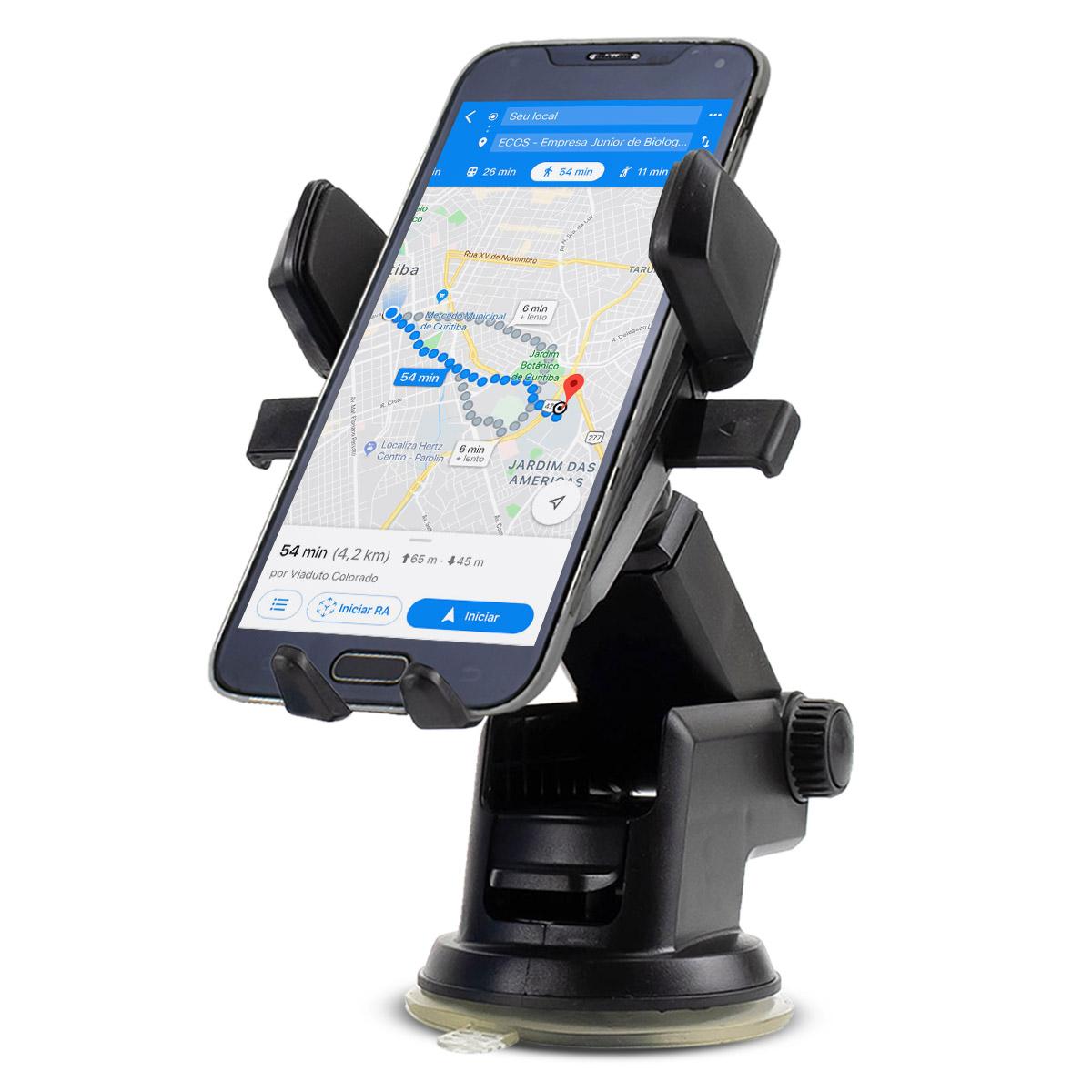 Suporte Universal para GPS e Celular com Trava Automática Exbom SP-72 / KP-SP007