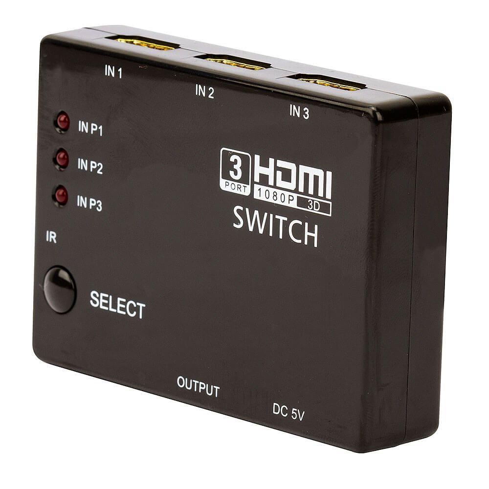 Switch HDMI 3 Entradas e 1 Saída com Controle Remoto