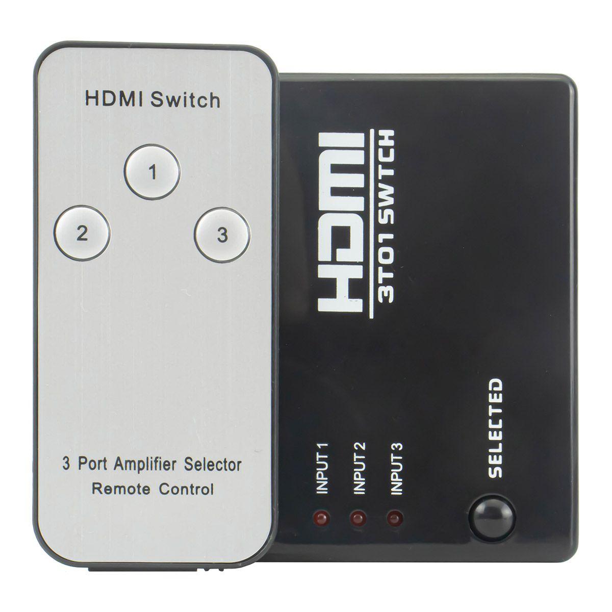 Switch HDMI 3 Entradas e 1 Saída com Controle Remoto + Cabo Usb DC