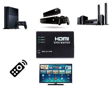 Switch HDMI 3 Entradas e 1 Saída com Controle Remoto e Fonte de Energia