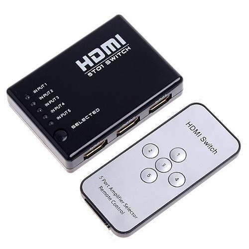 Switch HDMI 5 Entradas e 1 Saída com Controle Remoto e Fonte de Energia