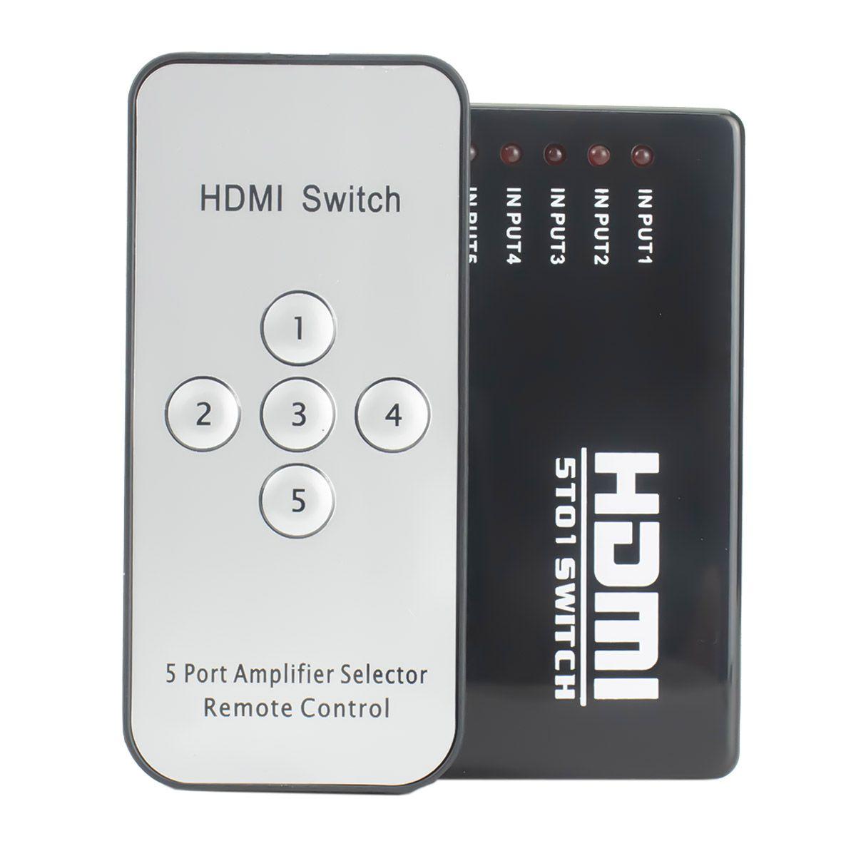 Switch HDMI 5 Entradas x 1 Saida com Controle Remoto e Extensor + Cabo USB DC + 5 Cabos hdmi de 1,5 Metro