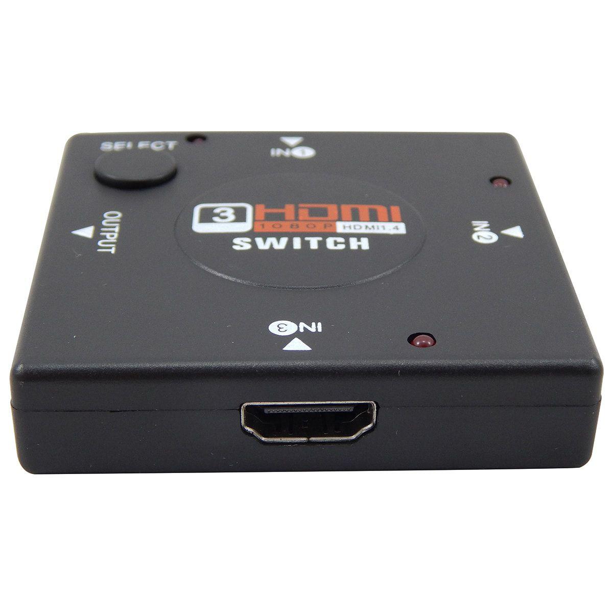 Switch HDMI com 3 Entradas e 1 Saída + 2 Cabos Hdmi de 1 Metro
