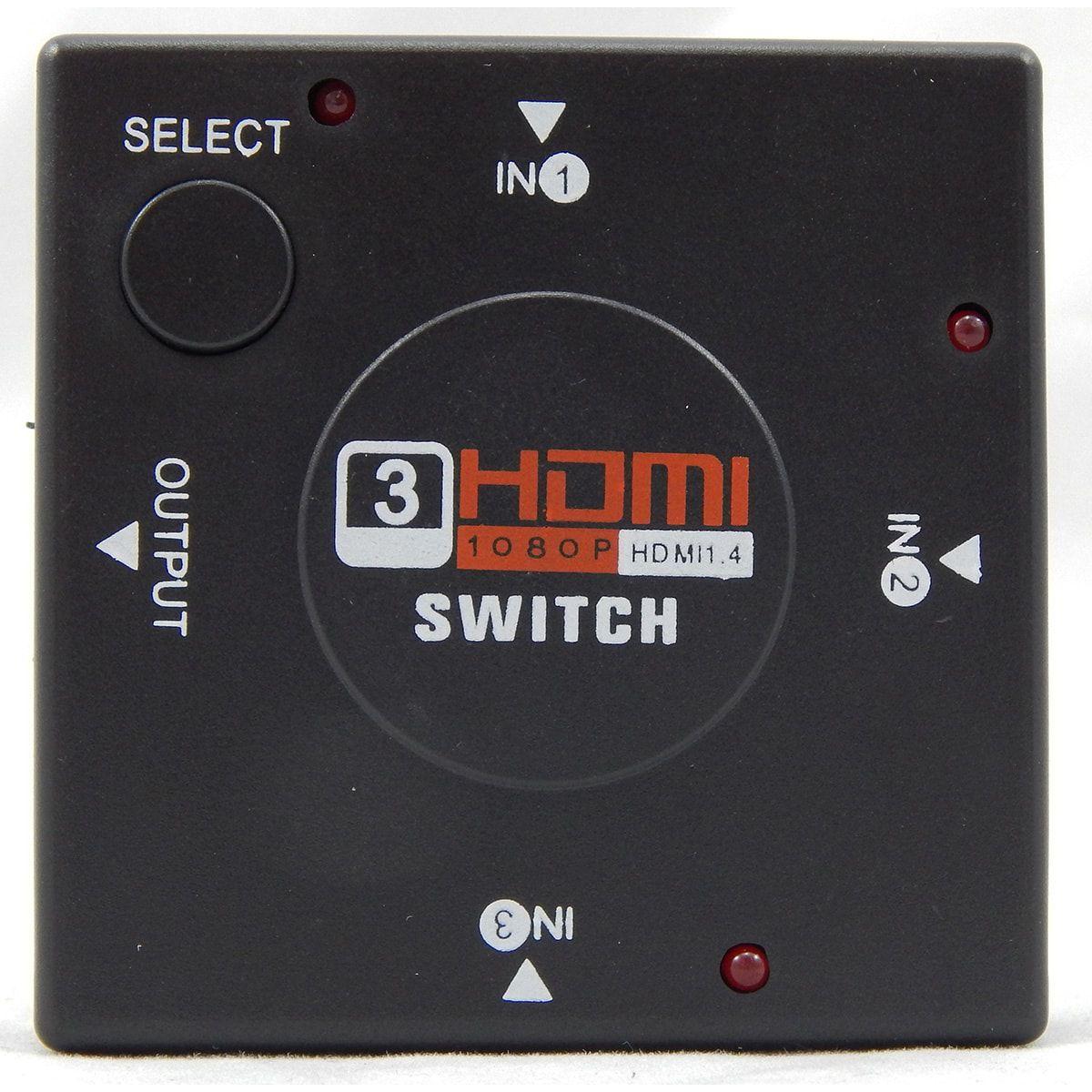 Switch HDMI com 3 Entradas e 1 Saída + 4 Cabos Hdmi de 1,5 Metros