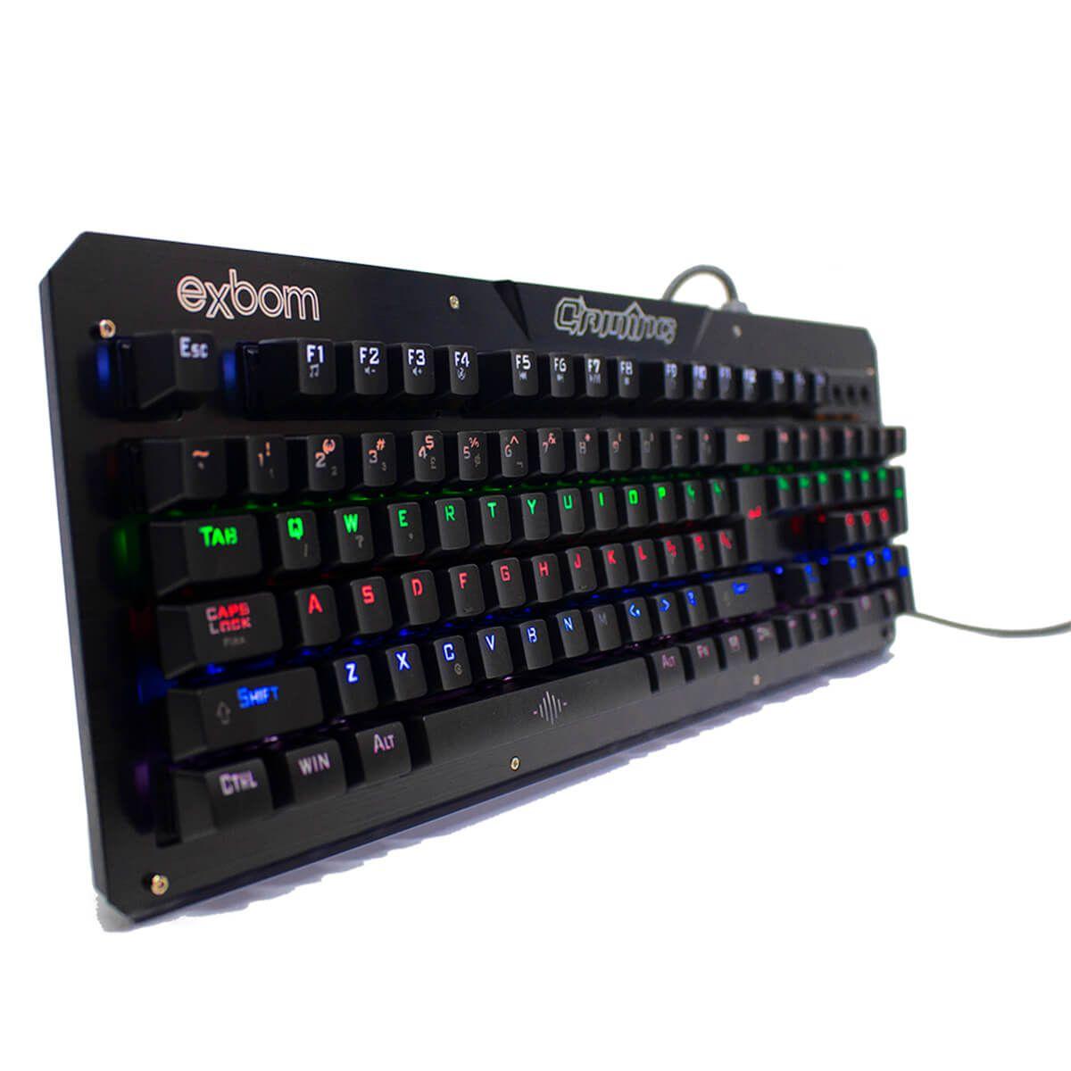 Teclado Gamer Mecanico com Iluminaçao Led 7Rgb em Metal Exbom BK-GX1