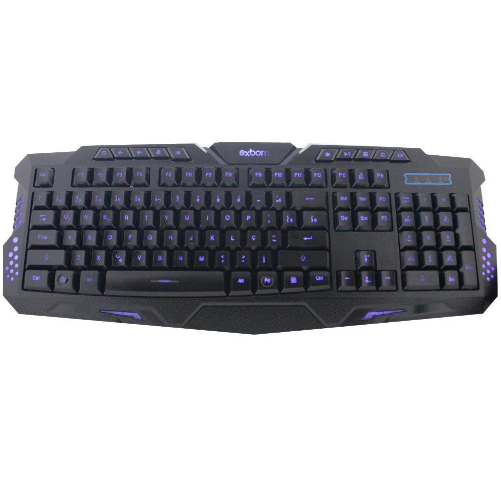 Teclado Gamer Multimídia USB Luminoso 3 Cores Exbom BK-G35