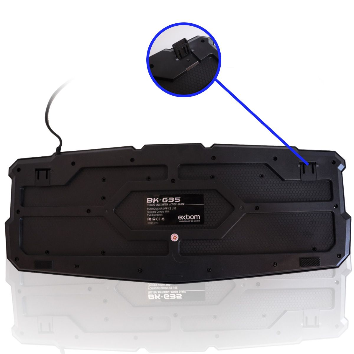Teclado Gamer Multimídia USB Luminoso 3 Cores Exbom BK-G35