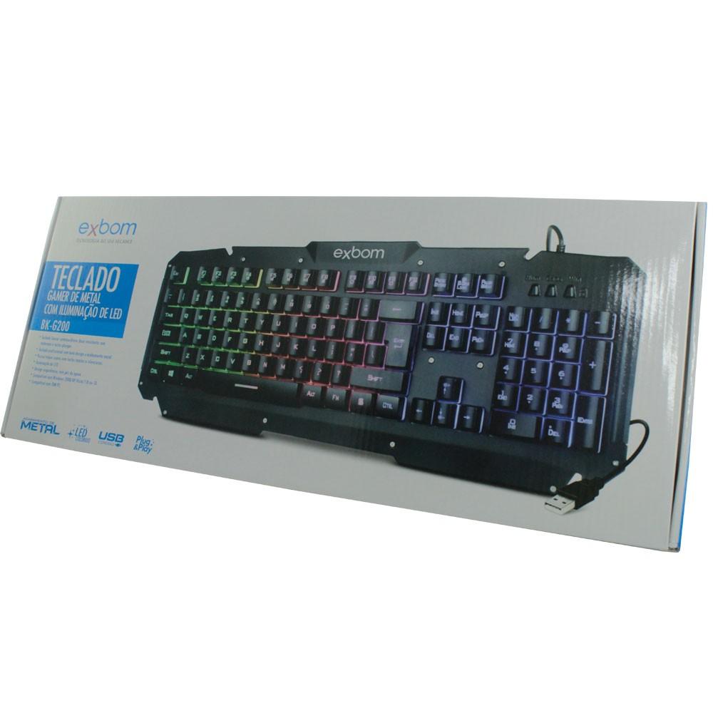 Teclado Gamer Semimecânico com Iluminação Led em Metal Exbom BK-G200