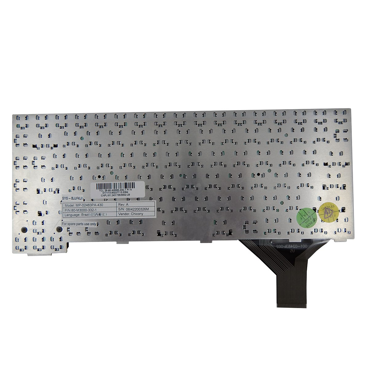 Teclado Notebook Positivo Pn: MP-02483PA-430 / 80-M3000-332-1