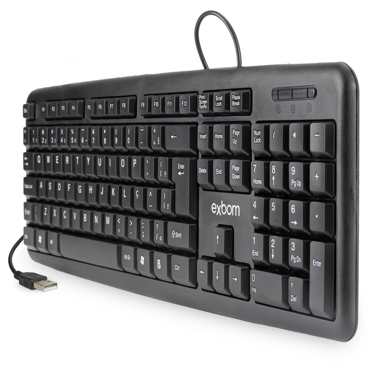 Teclado USB Standard Padrão ABNT 2 (Com Ç) 107 Teclas Exbom BK-102