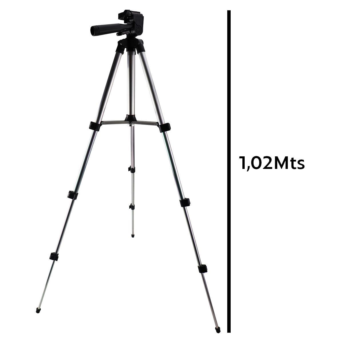 Tripé Para Câmeras Fotográficas e Smartphones C/ 4 Hastes de Alumínio Tripod JF-3110