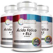 Ácido Fólico + B12, cápsulas de 500mg - 3 Potes